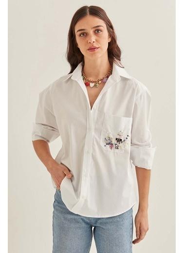 Vitrin Beyaz Poplin Kumaş Gömlek Beyaz